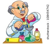 vector illustration-  cartoon  character  scientist in laboratory  on white background - stock vector