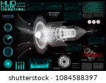 jet engine of airplane in hud... | Shutterstock .eps vector #1084588397