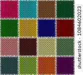 patchwok knitted background... | Shutterstock . vector #1084602023