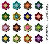 scrapbook flowers on white  | Shutterstock .eps vector #1084605557