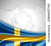 sweden flag of silk and world... | Shutterstock . vector #1084605743
