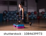young woman performs step...   Shutterstock . vector #1084639973