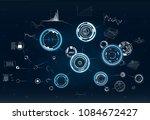 hud. radar screen.circle... | Shutterstock .eps vector #1084672427