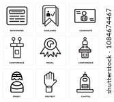 set of 9 simple editable icons... | Shutterstock .eps vector #1084674467