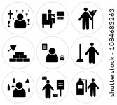 set of 9 simple editable icons... | Shutterstock .eps vector #1084683263