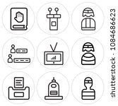 set of 9 simple editable icons... | Shutterstock .eps vector #1084686623