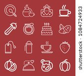 outline set of 16 food icons... | Shutterstock .eps vector #1084724933