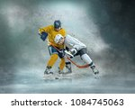 caucasian ice hockey players in ... | Shutterstock . vector #1084745063