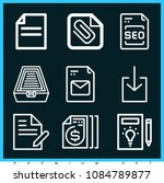 set of 9 file outline icons... | Shutterstock .eps vector #1084789877