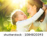 happy mother and little... | Shutterstock . vector #1084820393