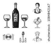 restaurant and bar monochrome... | Shutterstock .eps vector #1084842167