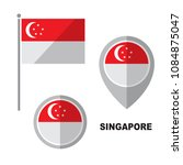 singapore flag and map pointer... | Shutterstock .eps vector #1084875047