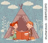 cute boy and girl in a tepee... | Shutterstock .eps vector #1084910393