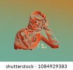 man in a thinker pose.... | Shutterstock .eps vector #1084929383