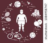 fat boy  badminton rackets and... | Shutterstock .eps vector #1084958747