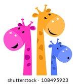 Colorful Giraffe Family...