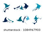 vector set with silhouette of... | Shutterstock .eps vector #1084967903