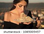 recipe of traditional italian...   Shutterstock . vector #1085005457