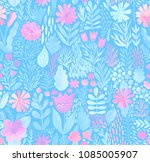 watercolor texture with flowers ... | Shutterstock . vector #1085005907