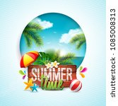 vector summer time holiday... | Shutterstock .eps vector #1085008313