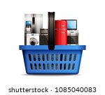 shopping basket full of kitchen ... | Shutterstock .eps vector #1085040083