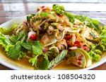 beef and chili salad delicious thai food - stock photo
