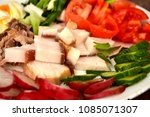 moked fat bacon with egg and...   Shutterstock . vector #1085071307