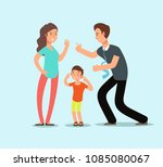 angry husband and wife swear in ... | Shutterstock .eps vector #1085080067