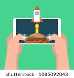 man holding smartphone and...   Shutterstock .eps vector #1085092043