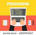 programmer coding on laptop... | Shutterstock .eps vector #1085092067