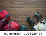 overhead view of traveler's... | Shutterstock . vector #1085125433