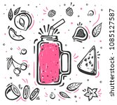 smoothie in glass bottle with... | Shutterstock .eps vector #1085127587