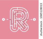 letter r shape maze labyrinth ... | Shutterstock .eps vector #1085128013