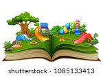 open book with playground on a... | Shutterstock .eps vector #1085133413