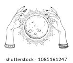 hand drawn full moon with rays... | Shutterstock .eps vector #1085161247