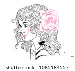 cute girl with a flower in her...   Shutterstock .eps vector #1085184557