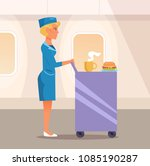 stewardess with the food ...   Shutterstock .eps vector #1085190287