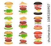 set of burgers and sandwiches... | Shutterstock .eps vector #1085200907