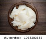 lard or pig fat in wooden bowl... | Shutterstock . vector #1085203853