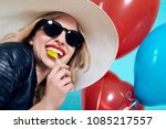 beautiful rocker girl in...   Shutterstock . vector #1085217557