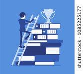 ladder to success. businessman...   Shutterstock .eps vector #1085225177