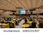 Small photo of Brussels, Belgium - May 5, 2018 : People debating inside the European Parliament in Brussels. The debate was about the totalitarianism.