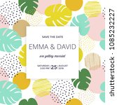 save the date card   tropical... | Shutterstock .eps vector #1085232227