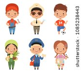 funny cartoon children...   Shutterstock .eps vector #1085238443