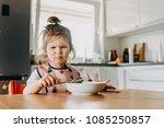 adorable funny toddler girl... | Shutterstock . vector #1085250857