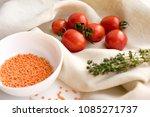 fresh cherry tomatoes  garlic... | Shutterstock . vector #1085271737