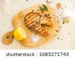 salmon fish fillet grilled steak | Shutterstock . vector #1085271743