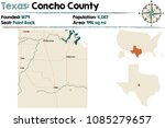 detailed map of concho county... | Shutterstock .eps vector #1085279657