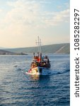 party boat in croatia in the... | Shutterstock . vector #1085282297