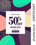 holiday sale banner  50  off... | Shutterstock .eps vector #1085341607